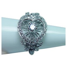European Diamond Heart Butterflies Ring 18K White Gold Platinum