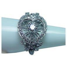 Vintage 18K White Gold Platinum European Diamond Ring Heart with Butterflies