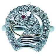 Edwardian 18K White Gold Old Mine cut Diamond Lucky Horseshoe Ring