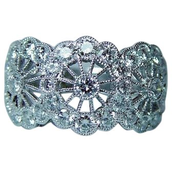 Diamond 18K White Gold Filigree Ring