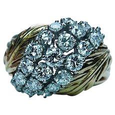 Vintage Diamond 18K Gold Platinum Ring Designer VS-FG  Finest Quality