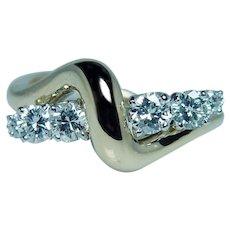 Vintage 18K Gold Platinum Diamond Ring Designer Signed McTeigue