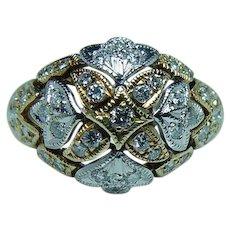 Vintage Diamond Ring 18K White Yellow Gold Estate
