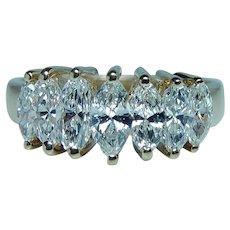 Vintage 1.7ct Marquise Diamond Ring 14K Gold 7 stone VS1-HI Estate