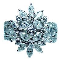 Vintage 18K White Gold Marquise Diamond Ring 1.60ct