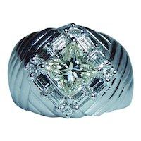 1.15ct Yellow Princess Diamond Halo Baguette Ring 18K White Gold