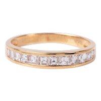 Asscher Diamond Anniversary Ring 18K Gold  Designer