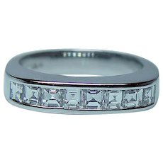 Vintage VVS2-F Asscher Diamond Anniversary Ring Band 18K White Gold Estate