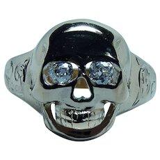 Imperial Russian Skull Memento Mori Ring Old Mine Cut Diamond Antique 14K Gold