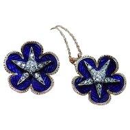 Edwardian Old Mine Diamond Star Ring Necklace Set Blue Enamel 14K Gold