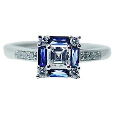 Vintage VS1-G Asscher Diamond French Sapphire Platinum Ring Estate Jewelry