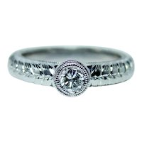 14K White Gold Diamond Solitaire Engagement Ring Size 5