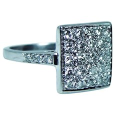 Pave Diamond Ring 14K White Gold Geometric Style Estate
