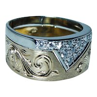 Designer 18K Gold Platinum Diamond Ring Band Hallmark Sz 4.75-5