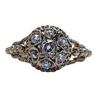Victorian Antique Old Mine Cushion Miner Diamond Ring 18K Gold 1870s