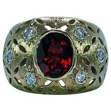 Vintage Red Garnet Diamond 18K Gold Ring Heavy 15.3gr Large Italy