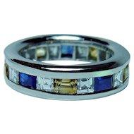 Platinum Asscher Diamond Sapphire Eternity Ring Heavy Size 5