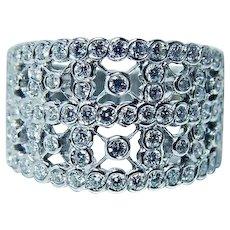 18K White Gold Diamond Ring Designer SHANE Vintage Estate