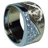 Designer 18K Gold Platinum Diamond Ring Band Sz 4.75-5