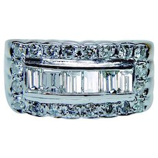 Diamond Baguette Ring Band 14K White Gold High Quality