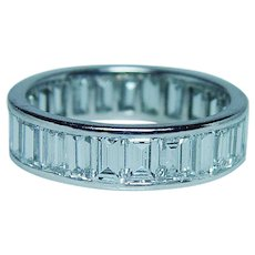 GIA 3ct Diamond Baguette Platinum Eternity Ring VS-FG Size 6.5