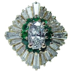 Vintage 18K Gold Oval Diamond Emerald Ballerina Ring GIA Certified Estate .97ct center
