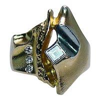 Designer Bjorn BJÖRN Weckstrom Lapponia Asscher Diamond 18K Gold Ring Modernist