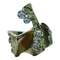 Designer Bjorn BJÖRN Weckstrom Lapponia Asscher Diamond 18K Gold Ring Modernist Finland