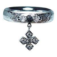 Designer Black Diamond Bead 18K White Gold Dangle Charm Signed