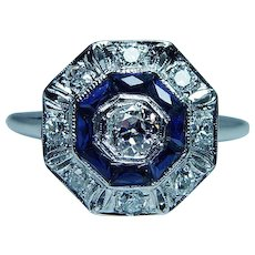 ART DECO Platinum 18K Old European Diamond French Sapphire Ring