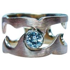 Vintage De Beers Diamond Solitaire Ring Band 18K Rose Gold Designer Heavy .48ct