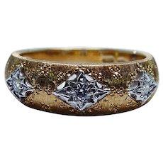 Estate Diamond Ring 18K Yellow Gold Designer Italy