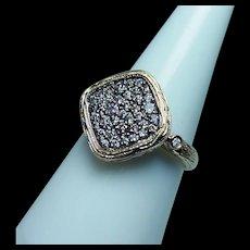 Vintage Champagne Diamond Ring 14K Gold Estate Organic Look