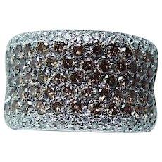 Vintage 14K White Gold Champagne Diamond Ring Heavy Estate 3ct