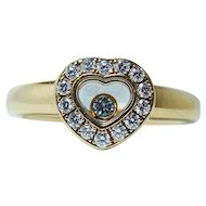 Chopard Happy Diamonds Heart Ring 18K Yellow Gold Size 7.75 Designer