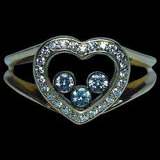 Chopard Happy Diamonds 18K Yellow Gold Heart Ring Size 8.25 Designer Vintage