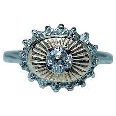 Vintage Old European Diamond 14K White Gold Halo Ring Estate