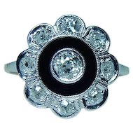 ART DECO Miner Mine Diamond 18K White Gold Platinum Ring Estate