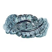Art DECO Marquise Baguette Diamond Platinum Ring VS-FG Antique Estate