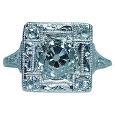 ART DECO Platinum 1.37ct Old European Diamond Engagement Ring