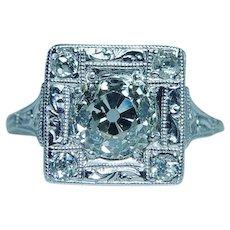 ART DECO Platinum 1.57ct Old European Diamond Engagement Ring GIA