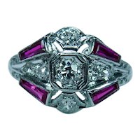 Art Deco Old European Mine cut Diamond French Ruby Ring Platinum