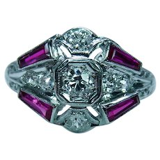 Art Deco Old European Mine cut Diamond French Ruby Ring Platinum