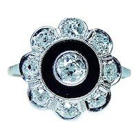 ART DECO Miner Mine Cushion Diamond 18K Gold Platinum Onyx Ring