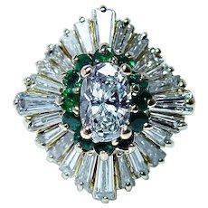 Vintage 18K Gold Oval Diamond Emerald Ballerina Ring GIA Certified .97ct center