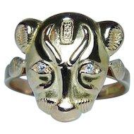 Art Nouveau 18K Gold Diamond Egyptian Cat Goddess Sekmet Ring Hieroglyphs