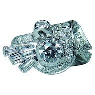 Platinum Round Baguette Diamond Ring Heavy circa 1950s