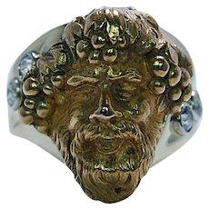 Art Nouveau Old Mine cut Diamond Dionysus Bachhus God of Wine Ring 18K Gold