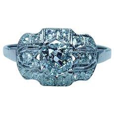 Edwardian Platinum Old Mine cut Diamond 3 stone Ring .78ct center