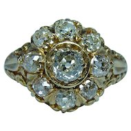 Antique 1.94ct Old Miner Cushion Diamond Ring 18K Gold circa 1870s